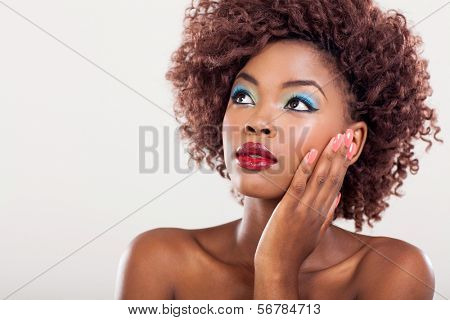 beauty portrait of african american girl looking up