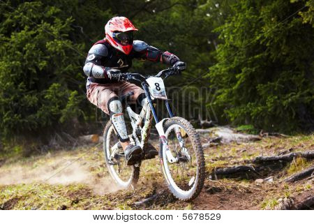 Mountain Biker On Downhill Rce