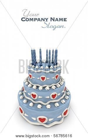 3D rendering of  a impressive blue three floor cake with red hearts and candles