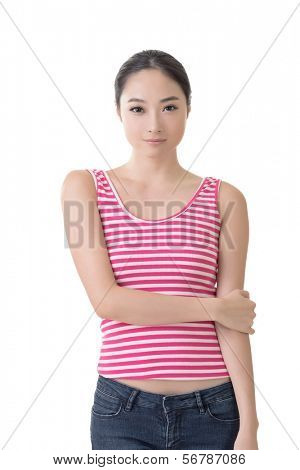 Chinese girl, closeup portrait isolated on white background.