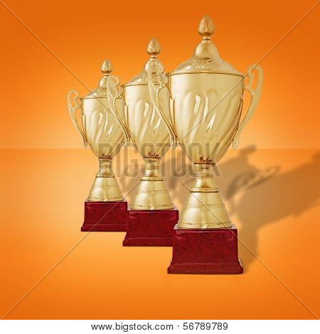 Row Of Gold Trophy Cups