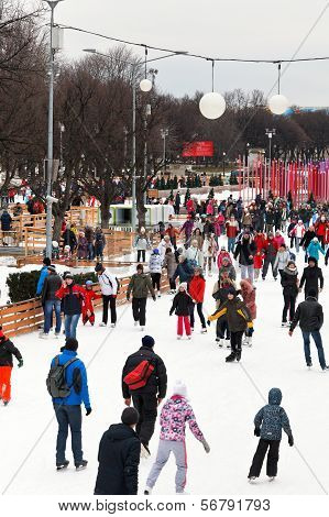 Crowds Of Townspeople Skating Rink