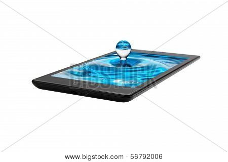 A Drop Of Water From The Mobile Phone Screen