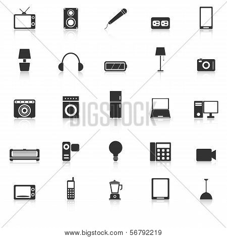 Electrical Machine Icons With Reflect On White Background