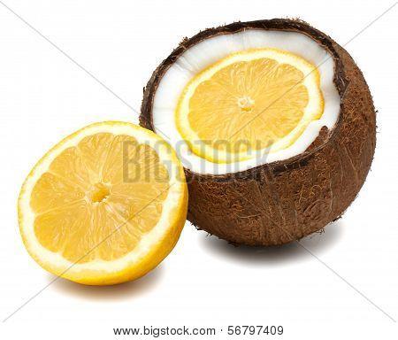 Lemon Inside, Beside Coconut Isolated On White