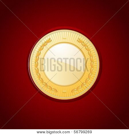 Gold Medal On Red Leather