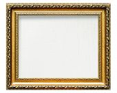 empty golden frame for picture with artistic canvas