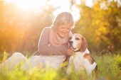 foto of dog-walker  - Senior woman hugs her beagle dog in countryside - JPG