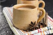 stock photo of darjeeling  - Masala chai with herbs and spices. spicy tea ** Note: Shallow depth of field - JPG