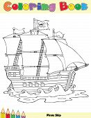 stock photo of pirate flag  - Pirate Ship Coloring Book Page Cartoon Character - JPG