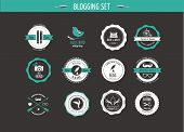 Set of retro vintage badges, blog elements and labels, black backgound