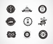 Vintage vector sewing labels, elements and badges with retro styled design