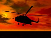 stock photo of missles  - helicopter landing at sunset - JPG