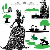 Постер, плакат: Fairytale Set Silhouettes Of Princess And Frog Castle Forest Lake Swans