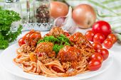 stock photo of meatballs  - Spaghetti bolognese with beef meatballs and parsley - JPG