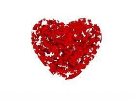 image of broken-heart  - digital render of a broken heart in many pieces - JPG