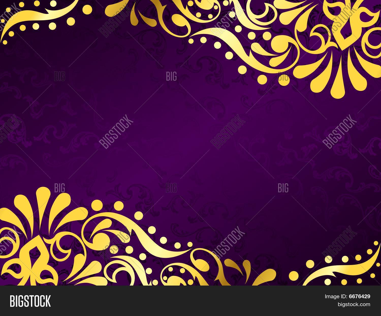 Purple Background Gold Filigree, Vector & Photo | Bigstock