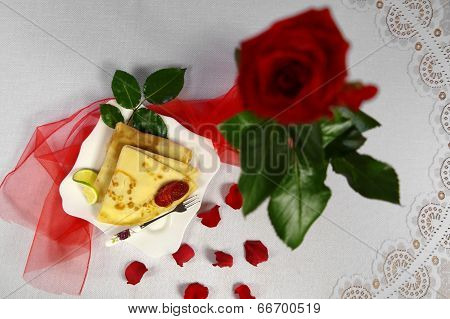 Pancake With Strawberry On The Plate