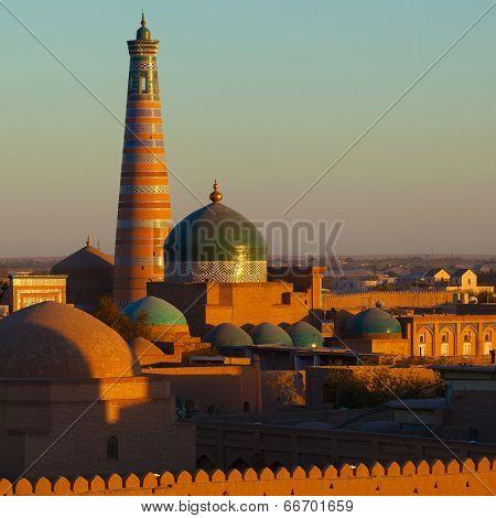 Ancient city of Khiva at sunset. Uzbekistan