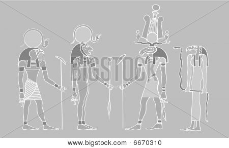 Egyptian gods and symbols - vector