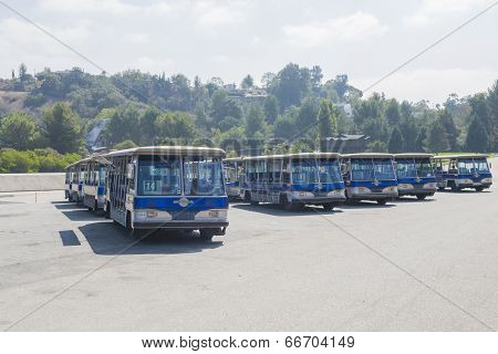 Los Angeles -USA October 2: Excursion Blue Buses Standing at Universal Studios