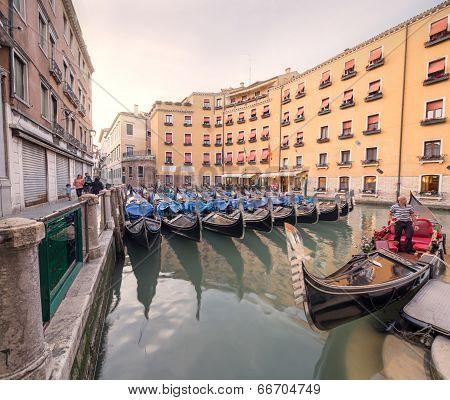 Gondola's station in Venice