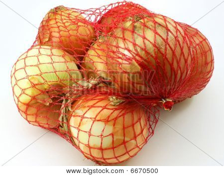 Fresh organic onions, red net bag