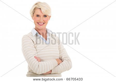 pretty mid age woman looking at the camera isolated on white