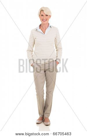 full length portrait of modern mid age woman isolated on white