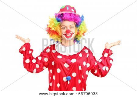 Female clown gesturing with hands isolated against white background