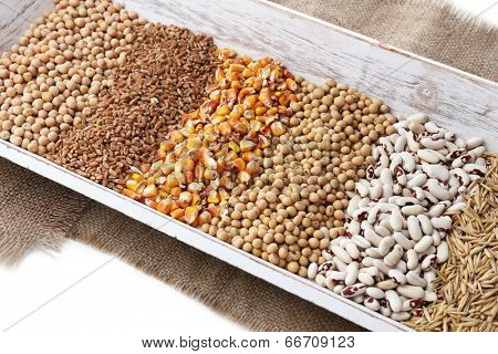Cereals in wooden box close up