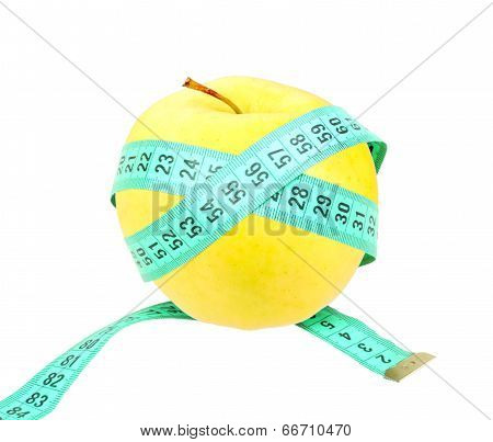 Measure Tape On Yellow Apple