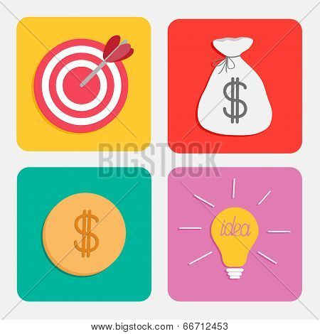 Business icon set. Target moneybag gold coin light bulb idea concept. Flat design.