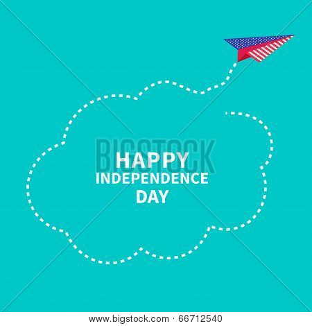 Happy independence day United states of America. 4th of July. Paper plane. Dash line cloud.