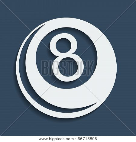 Stylized Vector Icon Of Billiard 8-ball