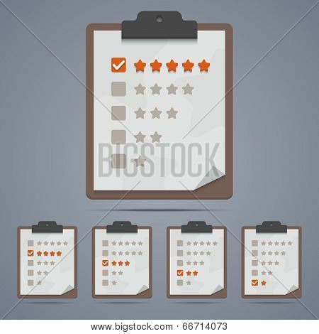 Clipboard With Rating Stars And Checkboxes. Vector Illustration In Eps10.