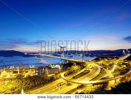Tsing Ma Bridge sunset , hong kong landmark