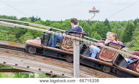 Kaatsheuvel/the Netherlands - May 23Th, 2014: Efteling Park Ride Joris En De Draak Rising Above The
