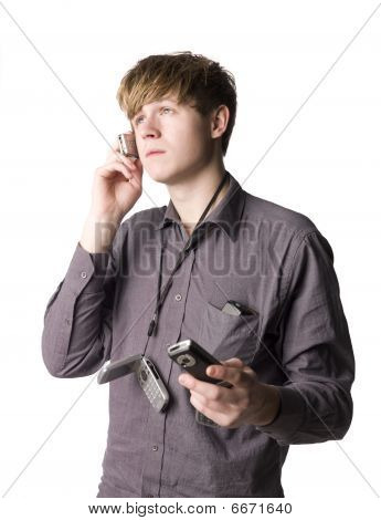 Young man with telephones