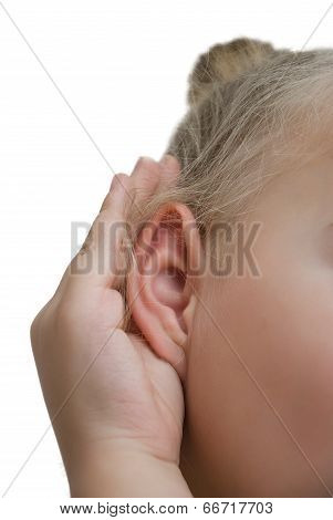 What? Closeup For Girl Hand On Ear. Listening. Vertical