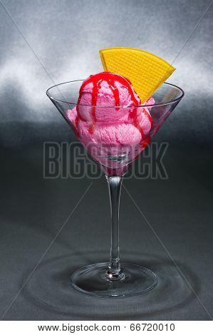 Raspberry Ice Cream In A Martini Glass