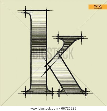 art simple alphabet in vector, classical black handmade font, lowercase letter k