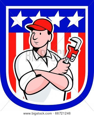 American Plumber Holding Monkey Wrench Cartoon