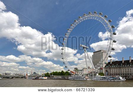 LONDON, UK - JUNE 12, 2014: London Eye, diameter of 120 meters and height of 135 meters, it is the highest ferris wheel in Europe