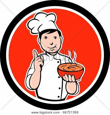 Chef Cook Carrying Bowl Circle Cartoon