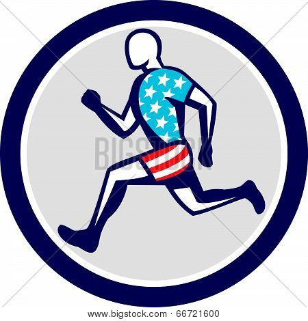 American Sprinter Runner Running Side View Retro