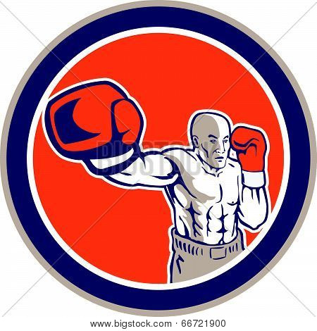 Boxer Boxing Punching Jabbing Circle Retro