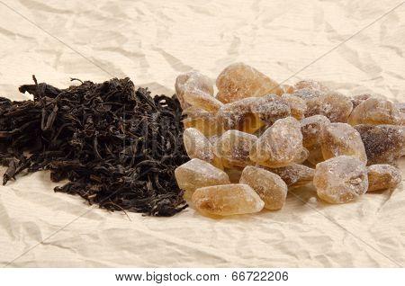 Brown Rock Candy Sugar And Black Tea
