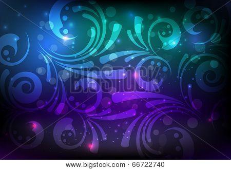 Floral Glowing Decoration On Dark Background