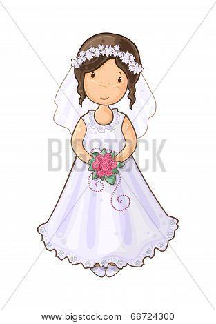 Cartoon girl bride